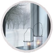 Cozy Lanterns And Winter Landscape Seen Through The Window Round Beach Towel