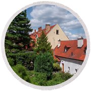 Round Beach Towel featuring the photograph Cozy Prague by Jenny Rainbow