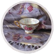 Round Beach Towel featuring the photograph Cozy Time With Tea And Fleece Blanket by Nancy Lee Moran