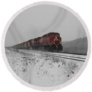 Round Beach Towel featuring the photograph Cp Rail 2 by Stuart Turnbull