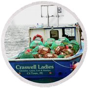Crab Boat Round Beach Towel