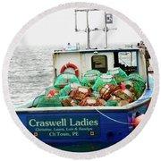 Crab Boat Round Beach Towel