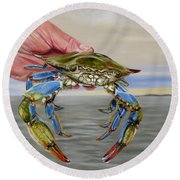 Crab Fingers Round Beach Towel