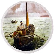 Round Beach Towel featuring the painting Crab Fisherman by Richard Le Page