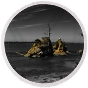 Crab Rock Round Beach Towel