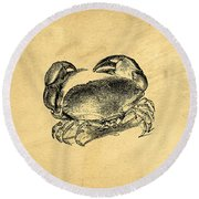 Round Beach Towel featuring the drawing Crab Vintage by Edward Fielding