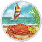 Crab With Cocktail Umbrella Round Beach Towel