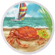 Crab With Cocktail Umbrella Round Beach Towel