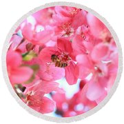 Round Beach Towel featuring the photograph Crabapple Bees 2 by Rick Morgan