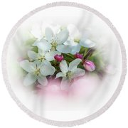 Crabapple Blossoms 3 - Round Beach Towel