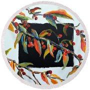 Crabapple Branches With Black Round Beach Towel