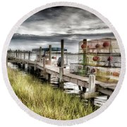 Crabber's Dock, Surf City, North Carolina Round Beach Towel by John Pagliuca