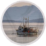 Crabbing Round Beach Towel by Randy Hall