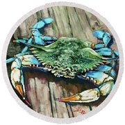 Crabby Blue Round Beach Towel