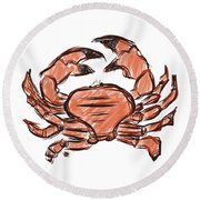 Crabby Round Beach Towel