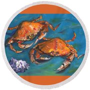 Crabs Round Beach Towel by Susan Thomas