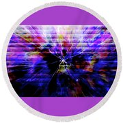 Cracked Abstract Blue Round Beach Towel