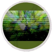 Cracked Abstract Green Round Beach Towel