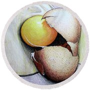 Cracked Egg Round Beach Towel by Mary Ellen Frazee