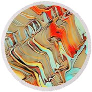 Cracked Rocks Round Beach Towel