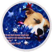 Round Beach Towel featuring the photograph Cradled By A Blanket Of Stars And Stripes - Quote by Shelley Neff