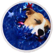 Round Beach Towel featuring the photograph Cradled By A Blanket Of Stars And Stripes by Shelley Neff