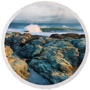 Round Beach Towel featuring the photograph Craggy Coast by Robin-Lee Vieira