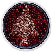 Cranberry Christmas Tree Round Beach Towel