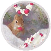 Round Beach Towel featuring the painting Cranberry Garlands Christmas Squirrel by Nancy Lee Moran