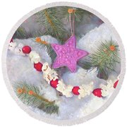 Round Beach Towel featuring the painting Cranberry Garlands Christmas Star In Orchid by Nancy Lee Moran