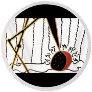 Round Beach Towel featuring the mixed media Crane by Clarity Artists