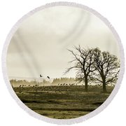 Round Beach Towel featuring the photograph Crane Hill by Torbjorn Swenelius