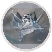 Round Beach Towel featuring the painting Crane Pile by LaVonne Hand