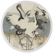 Cranes By The Water Round Beach Towel
