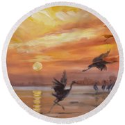 Cranes - Golden Sunset Round Beach Towel