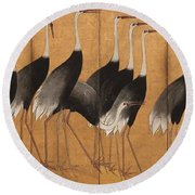 Cranes Round Beach Towel