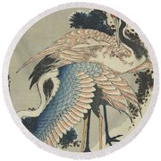 Cranes On Pine Round Beach Towel by Hokusai