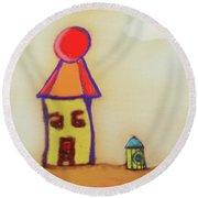 Cranky Clown Cabana And Fire Hydrant Round Beach Towel