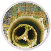 Round Beach Towel featuring the mixed media Crank by Tony Rubino