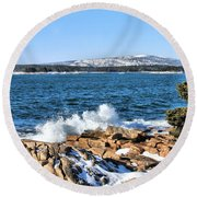 Round Beach Towel featuring the photograph Crashing Acadia Waves by Debbie Stahre