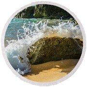 Crashing Over The Rock Round Beach Towel