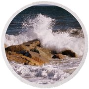 Round Beach Towel featuring the photograph Crashing Surf On Plum Island by Eunice Miller