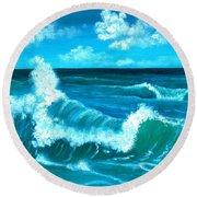 Round Beach Towel featuring the painting Crashing Wave by Anastasiya Malakhova