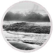 Round Beach Towel featuring the photograph Crashing Wave At Beach Black And White  by John McGraw