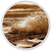 Crashing Wave Hdr Golden Glow Round Beach Towel by Sherman Perry