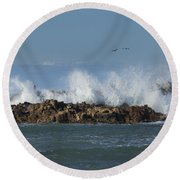 Crashing Waves And Gulls Round Beach Towel