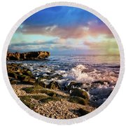 Round Beach Towel featuring the photograph Crashing Waves At Low Tide by Debra and Dave Vanderlaan