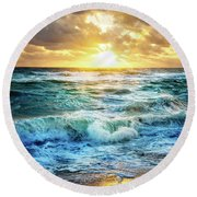Round Beach Towel featuring the photograph Crashing Waves Into Shore by Debra and Dave Vanderlaan