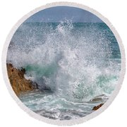 Crashing Waves Round Beach Towel