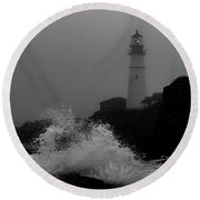 Crashing Waves On A Foggy Morning Round Beach Towel